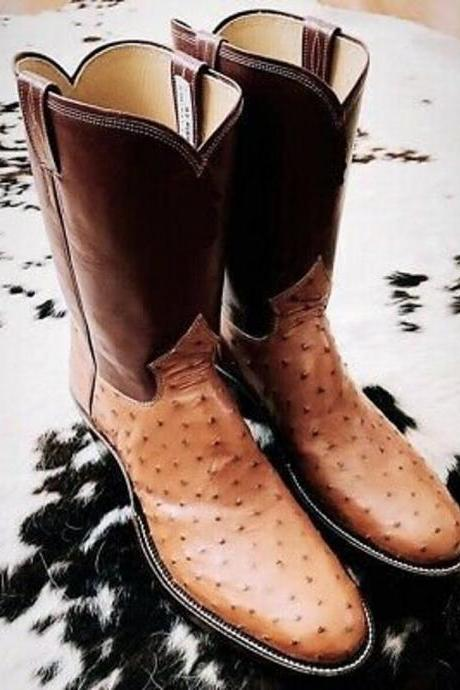New Handmade Pure Brown Leather & Ostrich Tan Cowboy Boots for Men's