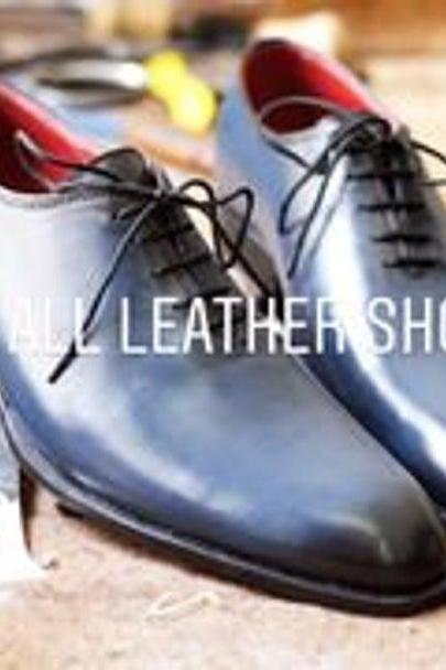 New Pure Handmade Blue Shaded Leather Lace up Dress Shoes for Men's