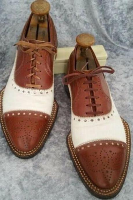 Pure Handmade Dark Tan & White Leather Lace up Brogue Shoes for Men's
