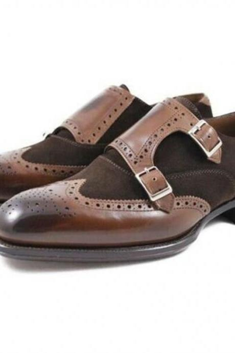 Pure Handmade Dark Tan Shaded & Brown Suede Leather Monk Strap Shoes for Men's