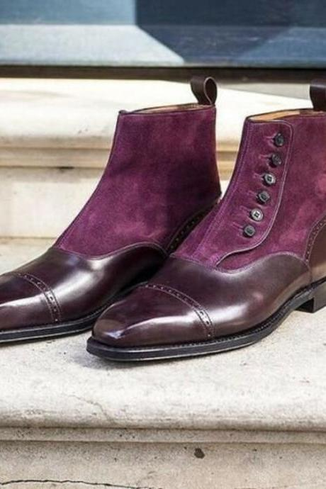 New Handmade Pure Burgundy Leather & Burgundy Suede Button Boots for Men's