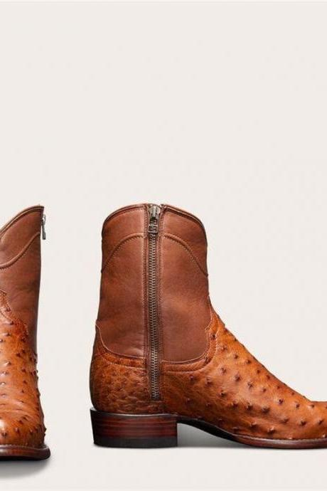 New Handmade Pure Brown Leather & Brown Ostrich Leather Cowboy Boots for Men's